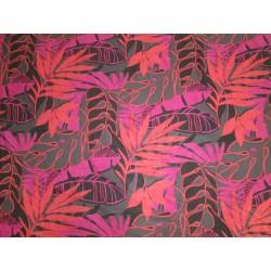 tissu feuilles rose orange
