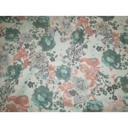 tissu fleurs fond beige