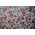 tissu fleurs bleu rouge