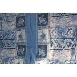 Tissu fleurs bleu ton sur ton