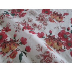 tissu fleurs orange rouge