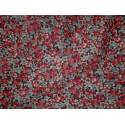 tissu  petites fleurs bleu rouge