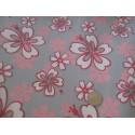 Tissu imprimé fleurs fond gris