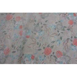 tissu fleurs orange bleu
