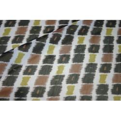 Tissu mousseline  petit carré marron vert noir