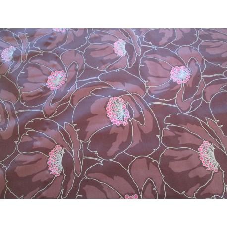 Tissu fleurs ton prune