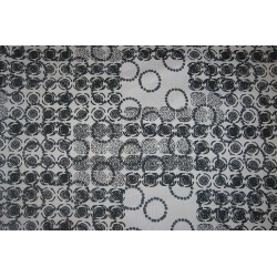 Tissu imprimé cercles noir et blanc