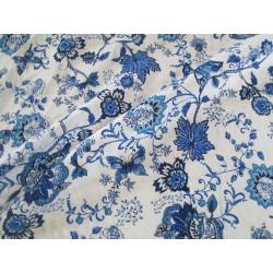 tissu papillons fleurs bleu