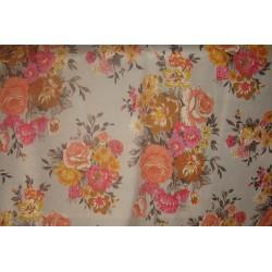 tissu fleurs orange gris