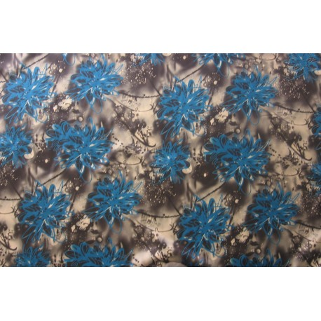 Tissu satiné graffiti bleu