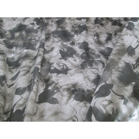 tissu feuilles ton gris