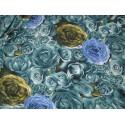tissu fleurs ton vert bleu