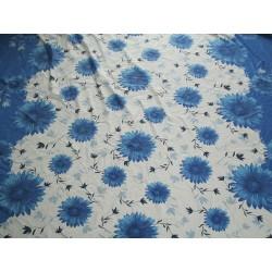 tissu grosses fleurs bleu grande largeur