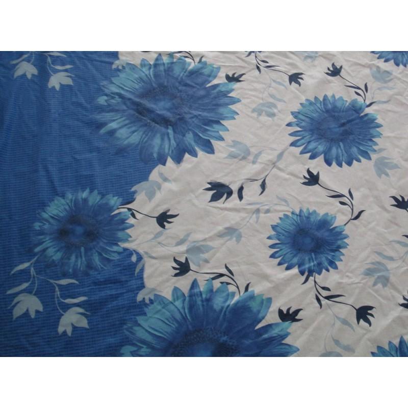 tissu grosses fleurs bleu grande largeur. Black Bedroom Furniture Sets. Home Design Ideas