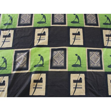 Tissu africain vert marron