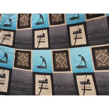 Tissu africain bleu marron