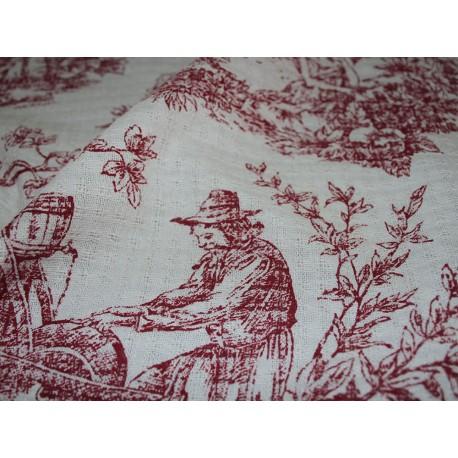 tissu gaufré toile de jouy rouge