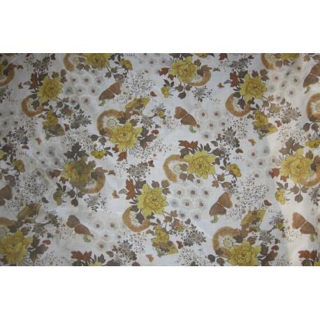 tissu fleurs ton marron