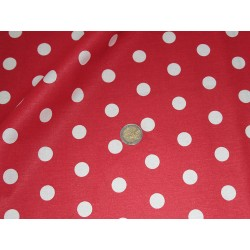 Coupon coton rouge pois blancs