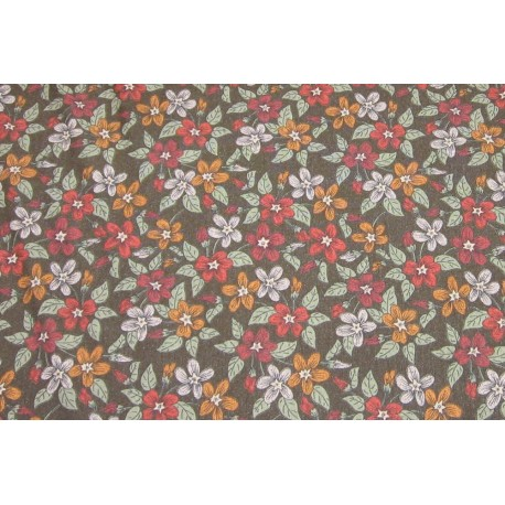 Tissu jersey kaki petite fleurs