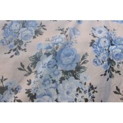 tissu fleurs ton bleu
