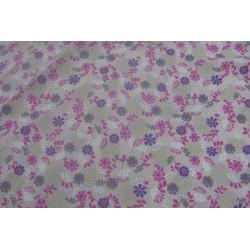 tissu fleurs roses violettes