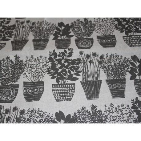 Coupon lin motifs basilic gris