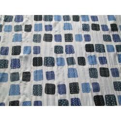 Tissu imprimé carré bleu