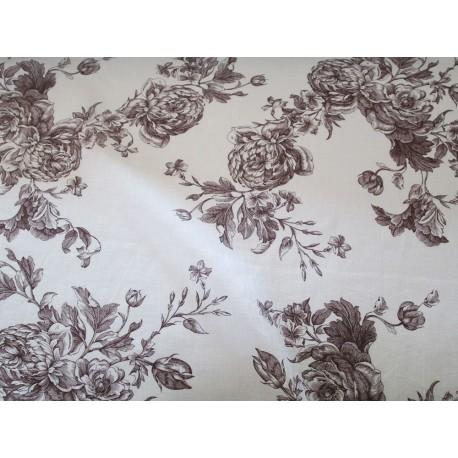 tissu  lin fleurs bordeaux