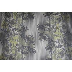 Tissu jersey fleurs gris vert