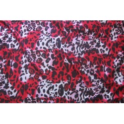 Tissu satiné léopard rouge