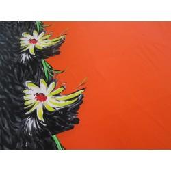 lycra fleurs noir orange
