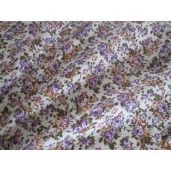 tissu fleurs violet orange