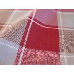 tissus carreaux rouge et gris