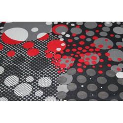 Tissu mousseline bulles rouge noir