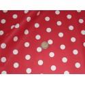 Coupon coton rouge pois blancs