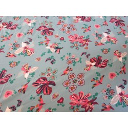 tissu fleurs oiseaux vert d'eau