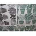 Coupon lin motifs basilic gris et vert