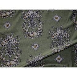 Tissu décor fleurs vert